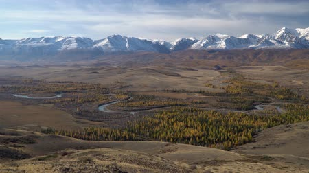 préri : Panoramic shot of winding river in Alyai region, Siberia.