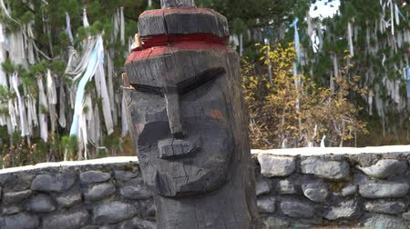 altay : Old wooden pagan idol head on ritual ribbons sacred tree background in the Altai Mountains. Stok Video