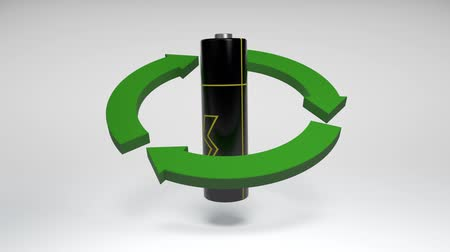 alkaline : CG animation of an electric battery rotating inside of recycle sign on white background. Seamless 3D animation loop rendering.