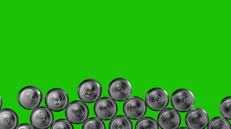 cabeçalho : Wall of aluminium cans tumbling down on green background. Recycling, food industry, aluminium production. 3d rendering.