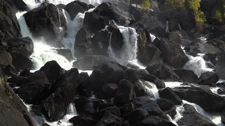 kei : Powerful cascade waterfall Uchar. Altai mountains, Siberia, Russia. Stockvideo