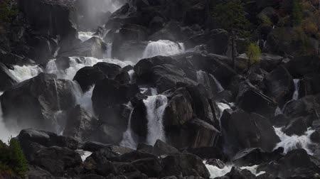 rapids : Powerful cascade waterfall Uchar. Altai mountains, Siberia, Russia. Stock Footage
