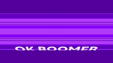 söylemek : Digital animation of OK BOOMER text moving on animated CG cylinder shape with purple stripes pattern. 3D rendering on purple background.