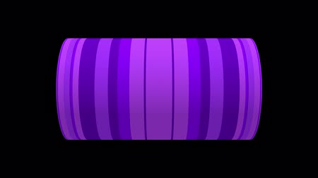 silindir : Digital animation of Game Over text rotating on animated CG cylinder shape with purple striped pattern. 3D rendering on black background.