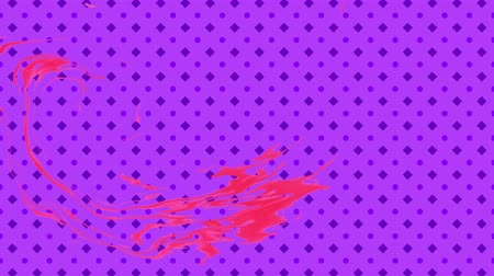 cilindro : Red ebru spot moving on animated purple CG pattern. Abstract background, 3d rendering. Filmati Stock