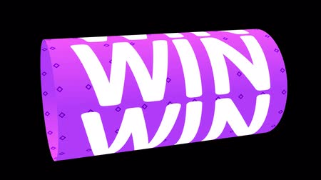 you win : Digital animation of WIN word rotating on animated CG cylinder shape with purple striped pattern. 3D rendering.