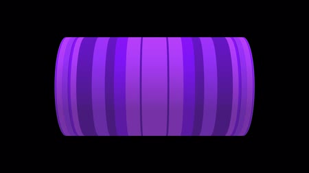 silindir : Digital animation of word WOW rotating on animated CG cylinder shape with purple striped pattern. 3D rendering on black background.