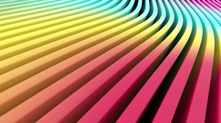 perspective : Seamless animation of colorful abstract stripes waving. Loopable 3D rendering animation.