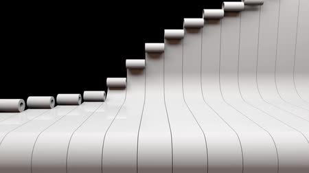 gif : 3D animation of piano keys rolling and sliding in and out. Loopable 3D animation rendering. Stock Footage