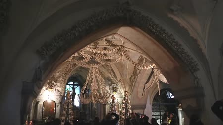 mortal : CHEH REPUBLIC, KUTNA GORA - 15 JENUARY 2017: The famous ossuary, the church that stands on the bones, where all the walls are decorated with skulls.