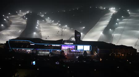 snowboard : Gangwon-do,Korea-January 4,2016: Daemyung Vivaldi Park ski resorts, attractions, famous and popular in Korea. Stok Video