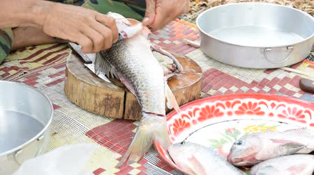 eviscerated : How to remove the skin of the fish by hand.