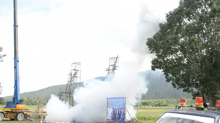 exiting : CHIANGMAI THAILAND JUNE 26: Bang Fai tradition, bamboo sky rocket Fail launching at Maerim District Chiangmai North Thailand on June 26,2014.