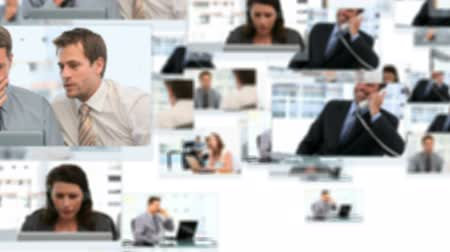 oluşturulan bilgisayar : Montage of business people working at the office