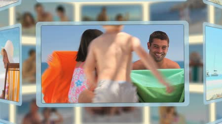 kolaj : Montage of families and couples enjoying moments together on a beach