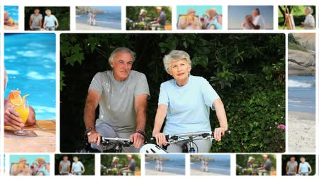 retirement : Montage of elderly couples sharing moments together outside Stock Footage