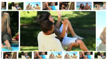 kolaj : Montage of different families enjoying moments together outside Stok Video