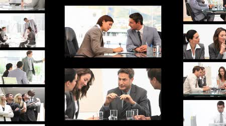 munka : Montage of business people in different situations at work
