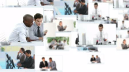praca : Montage of business people working inside and outside