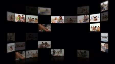 kolaj : Montage of families in different situations at home