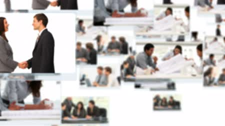 oluşturulan bilgisayar : Montage of business people talking about projects at the office