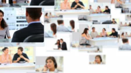 employee : Montage of people working and relaxing at the office