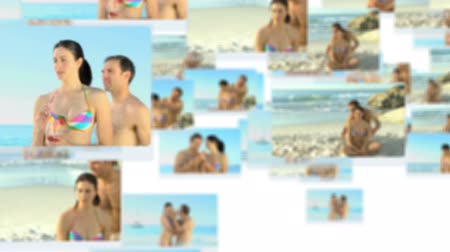 sarılmak : Montage of a young couple having fun on the beach during their holidays