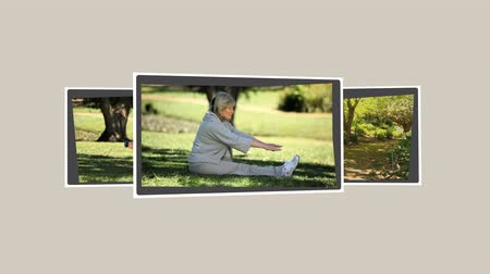 tridimensional : Montage of mature couples relaxing in the park and on bicycles Vídeos