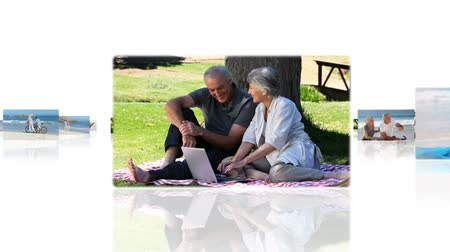 montázs : Montage of elderly couples relaxing in the park and on the beach Stock mozgókép