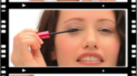 косметика : Montage of cute women making-up