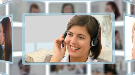 conversando : Montage of people talking on the phone at the office