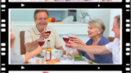 içme : Montage of people drinking wine at home