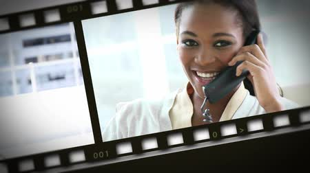 mobile : Montage of businesswomen on the phone Stock Footage