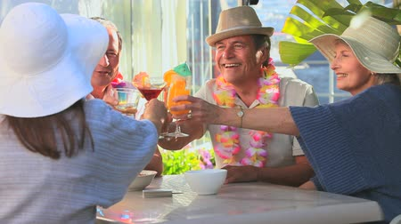 festa : Friends celebrating with cocktails in vacation Stock Footage