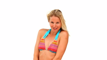 juventude : Cute blond woman in swimsuit against a white background