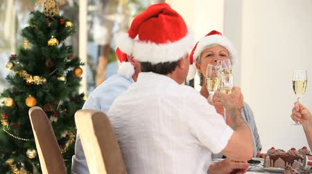 друзья : Elderly friends drinking champagne to celebrate Christmas in the dinning room