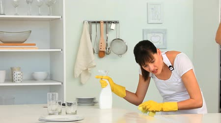 домохозяйка : Woman cleaning her kitchen at home