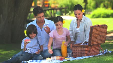 пикник : Attractive family having a picnic under a tree in a park Стоковые видеозаписи