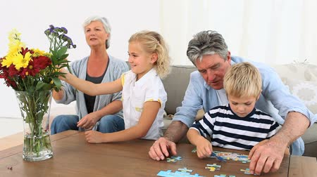 senior lifestyle : Grand parent playing with their grandson and grand-daughter in the living room Stock Footage