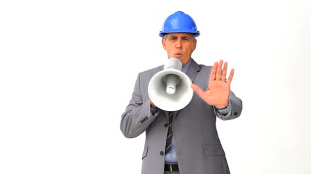 stavitel : Businessman with a megaphone isolated on a white background