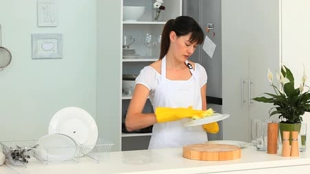 dish : Dark-haired woman doing the dishes in the kitchen
