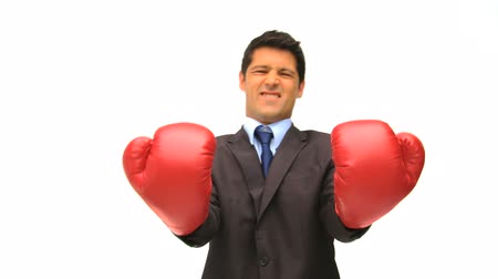 harc : Businessman with red boxing gloves isolated on a white background