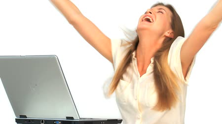 usuário : Happy woman looking at her laptop Stock Footage