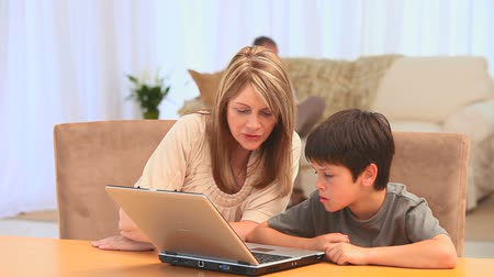 grandchild : Grandmother with her grandson using a laptop in the living room