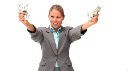 kavramsal : Business woman showing off her money against a white background
