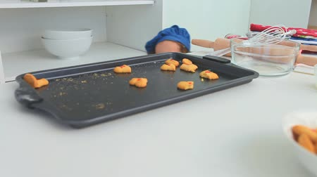 mutfak malzemesi : Little girl with a blue hat stealing cookies in the kitchen