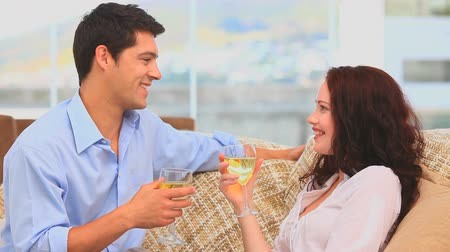 casal heterossexual : Handsome couple drinking a glass of white wine in their couch Stock Footage