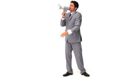 lelkesedés : Elegant business man shouting through the loudspeaker