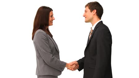 белый : Business people shaking hands isolated on a white backgorund Стоковые видеозаписи