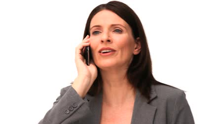 isolado no branco : Businesswoman getting nervous on the phone isolated on a white background Vídeos